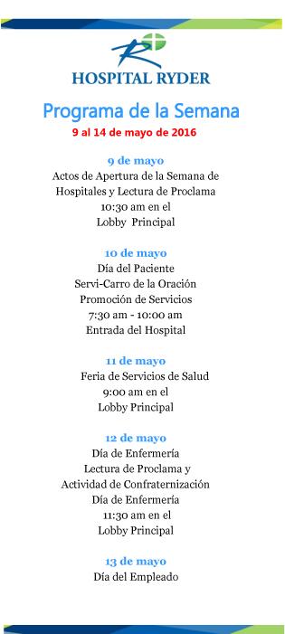 Programa de la Semana del Hospital 2016